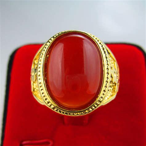 Cincin Batu Giok Hijau Xuping Gold Lapis Emas Cincin Batu Wanita 3 999 emas murni pengaturan buatan tinggi pria 18 k berlapis