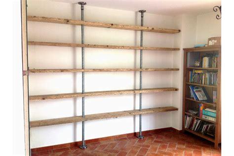 libreria di legno libreria in legno di recupero e tubi in acciaio xt lib008
