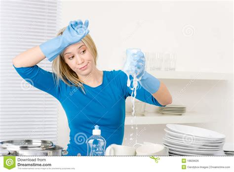 Kitchen Program Design Free modern kitchen frustrated woman washing dishes royalty