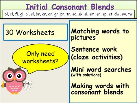 consonant blends or clusters initial consonant blends