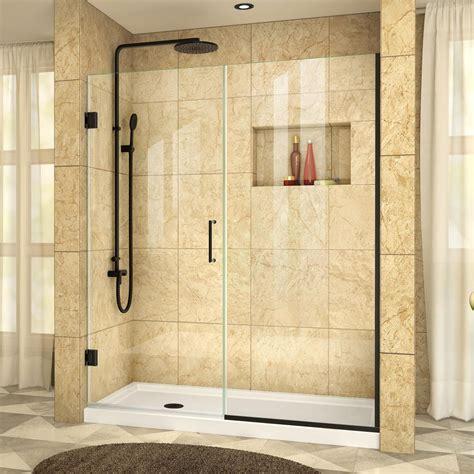 Dreamline Unidoor Shower Door Dreamline Unidoor Plus 59 In To 59 1 2 In X 72 In Hinge Shower Door In Satin Black Shdr