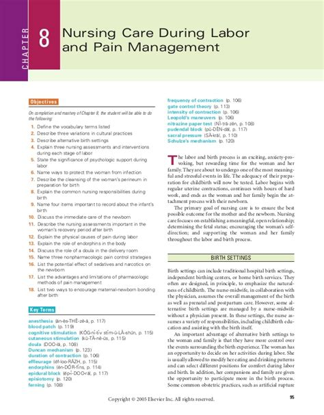 c section pain management chapter 8 nursing care during labor and pain management