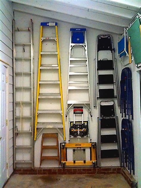 Ladder Storage Ideas In Garage Organizing Ladders For A Virgo Client Looks