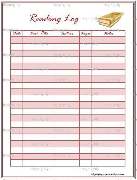 printable reading log printable reading log template