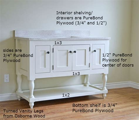 Diy Vanity Table Plans White 48 Quot Turned Leg Vanity Diy Projects