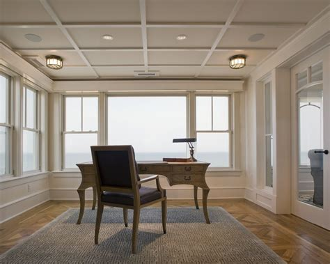 Simple coffered ceilings home office beach style with parquet flooring white painted wood limed oak