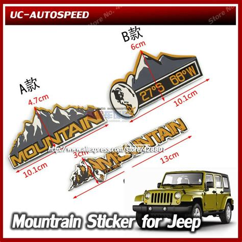 mountain jeep logo auto car glue 3m overland mountain emblem sticker for jeep