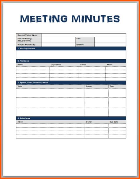 The Gallery For Gt Monthly Attendance Sheet Corporate Meeting Minutes Template Word