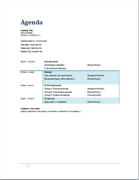 formal meeting agenda templates for ms word formal word