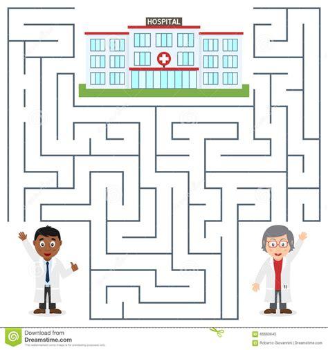 printable nursing games doctors and hospital maze for kids stock vector