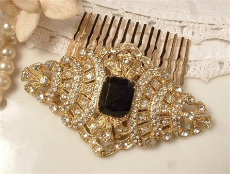 vintage wedding hair combs vintage wedding cake topper gold black white
