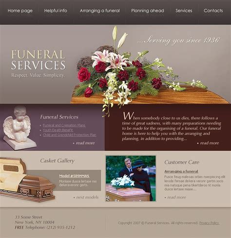 funeral presentation template funeral services website template web design templates