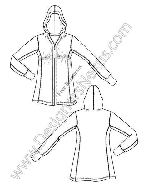 hoodie design drawings v3 knit hoodie illustrator fashion technical drawing