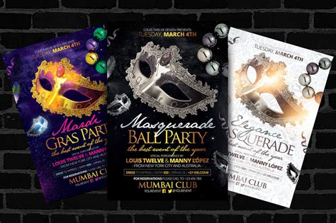 masquerade ball mardi gras flyers template by
