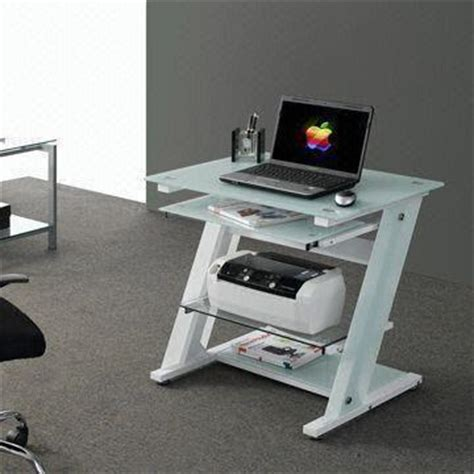 Laptop Desk With Printer Shelf China Computer Desk With Tempered Glass Tabletop Pull Out Keyboard Panel And Printer Shelf On
