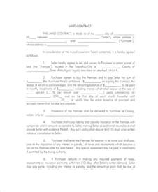 Land Template by 7 Land Contract Forms Free Sle Exle Format