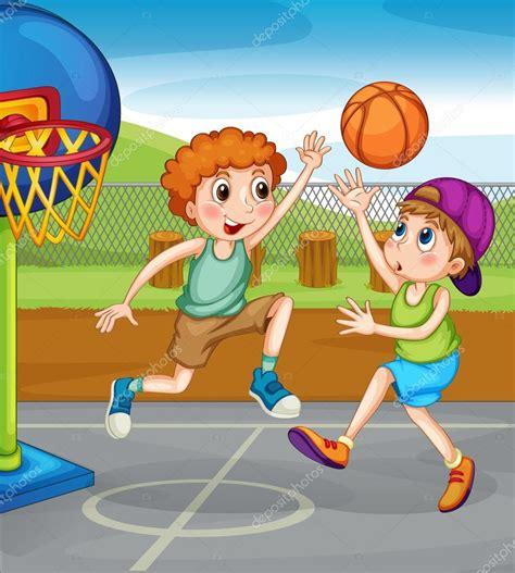 dibujos niños jugando baloncesto dos ni 241 os jugando baloncesto fuera de archivo im 225 genes
