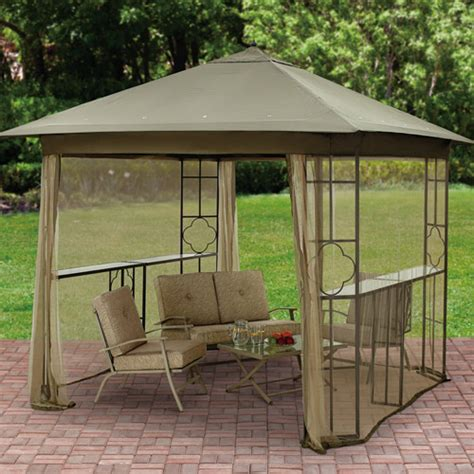 Patio Gazebo Walmart Mainstays Landsdowne Heights Shelf Gazebo With Netting 10 X 10 Walmart