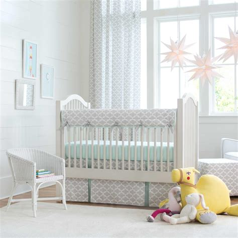 french gray and mint quatrefoil crib bedding carousel