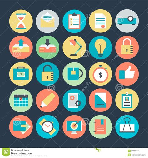 office colored vector icons 3 stock illustration image