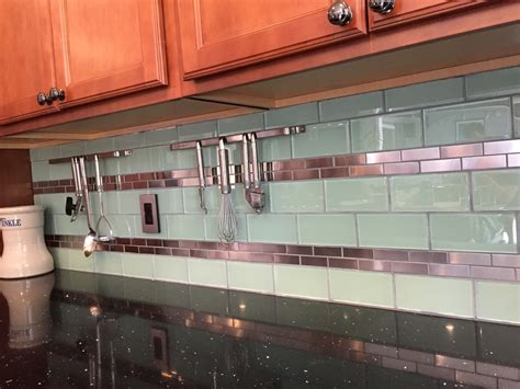 Mini Subway Tile Kitchen Backsplash by Stainless Steel 1 Quot X 3 Quot And Surf Glass Kitchen Backsplash