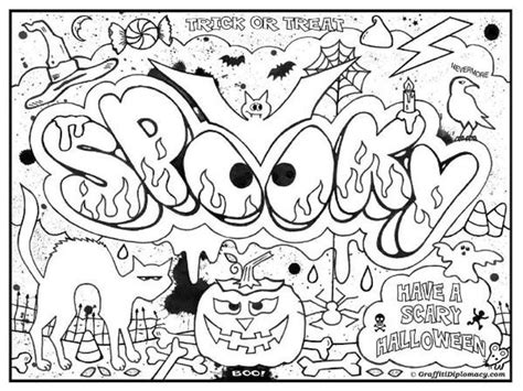 halloween coloring pages for tweens printable graffiti challenging coloring page for teenagers