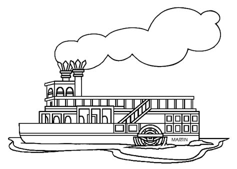 coloring page of mississippi river steamboat clipart 45