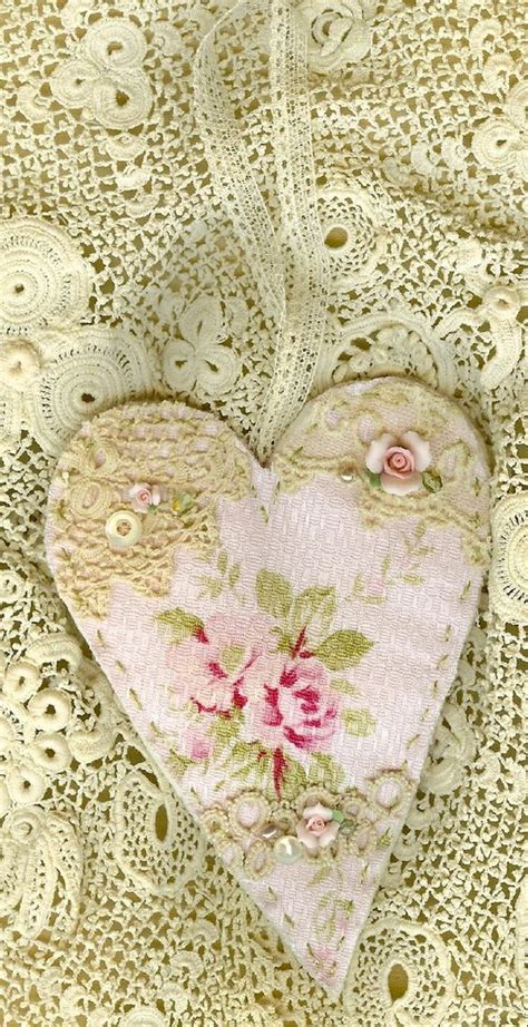 shabby pink rose barkcloth vintage lace collage heart