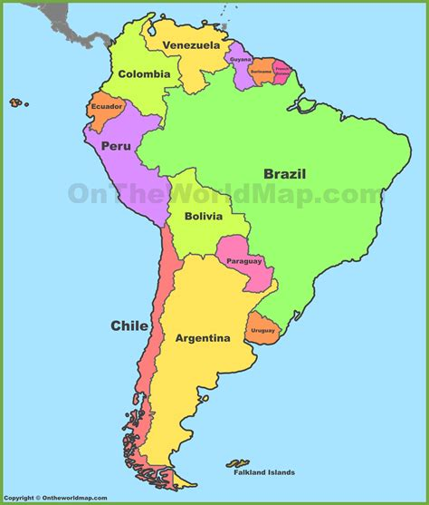 political map of south america south america political map map3