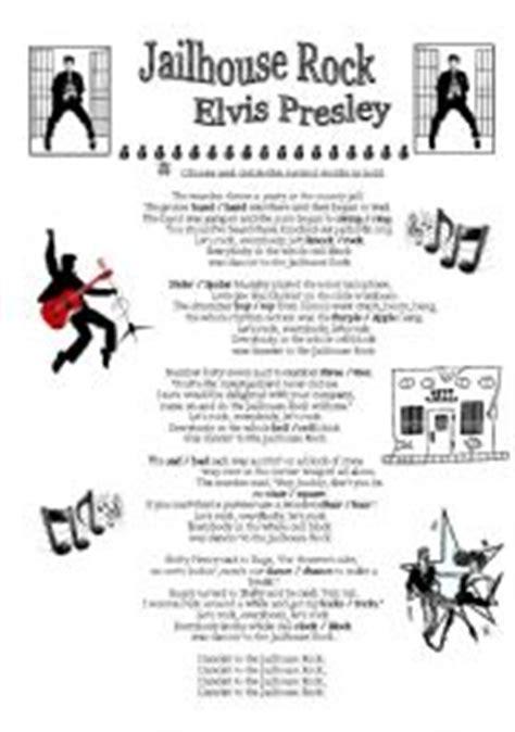 printable lyrics to jailhouse rock 8 best images of elvis presley printable activities