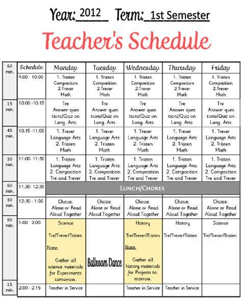 timetable templates for teachers image gallery schedule