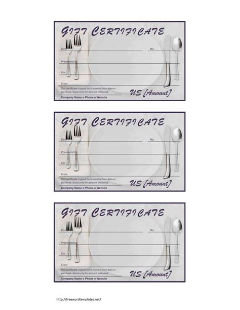 restaurant gift certificate template free microsoft word