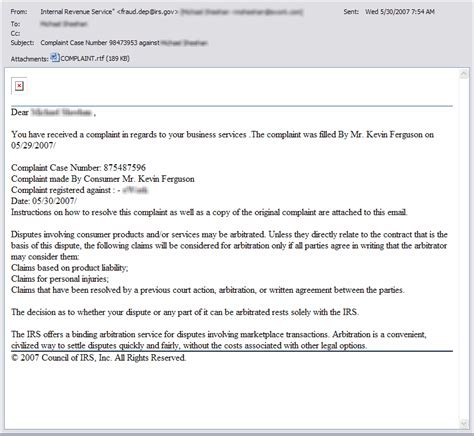 Complaint Letter Via Email Scam Virus Alert Emails From Irs With Subject Quot Complaint Number Quot Hightechdad