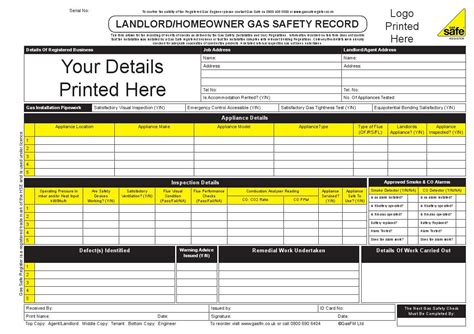 Homeowner Records Housing Association Landlord Homeowner Gas Safety Record