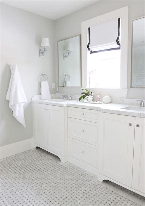 gray basketweave floor tile transitional bathroom benjamin moonshine paint it