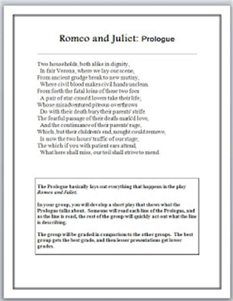 themes in romeo and juliet prologue high school english teacher lessons