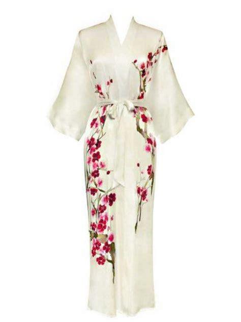 Cherry Hinata Flower Kimono shanghai s silk kimono handpainted cherry blossom design white shanghai
