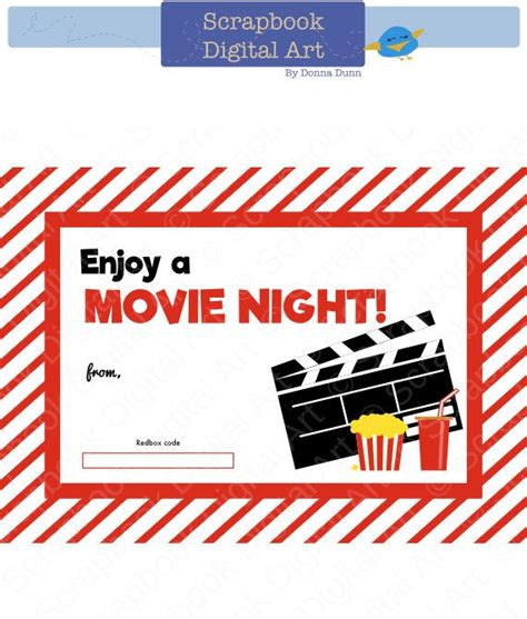 Printable Movie Gift Cards | printable redbox gift card tag printable card movie