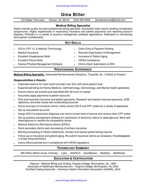 entry level billing and coding resume sles biller description resume resume ideas