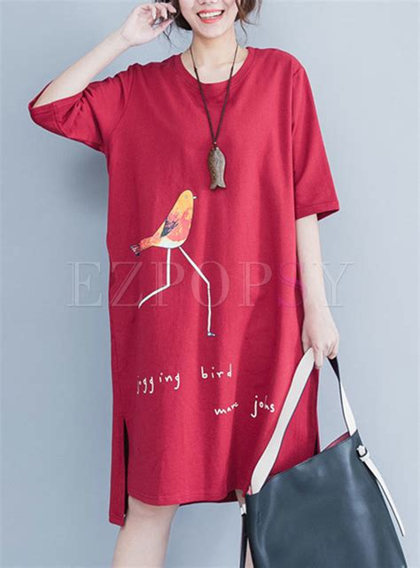Sleeve Print T Shirt Dress bird print half sleeve t shirt dress ezpopsy
