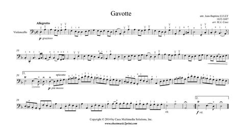 Gavotte Suzuki Book 3 Lully Gavotte In D Minor Cello