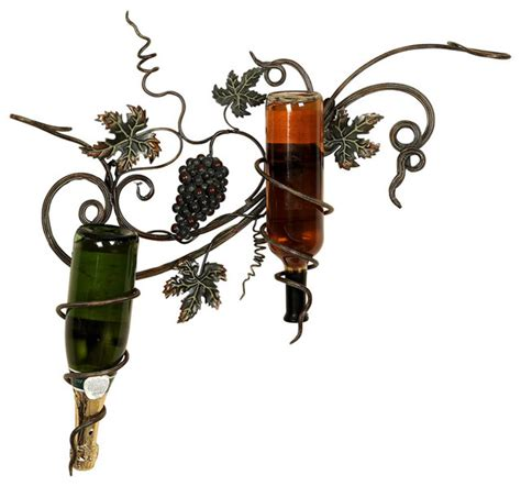 Grape Vine Wine Rack by Handcrafted Metal Deluxe Grapes Wall Wine 2 Bottle Holder