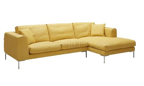 soleil sectional sofa in yellow premium leather by j m