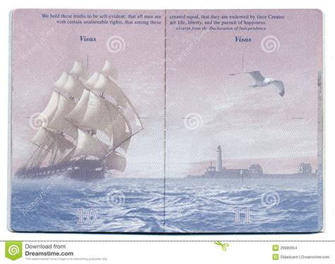 boat us visa card usa passport blank page editorial stock image image of