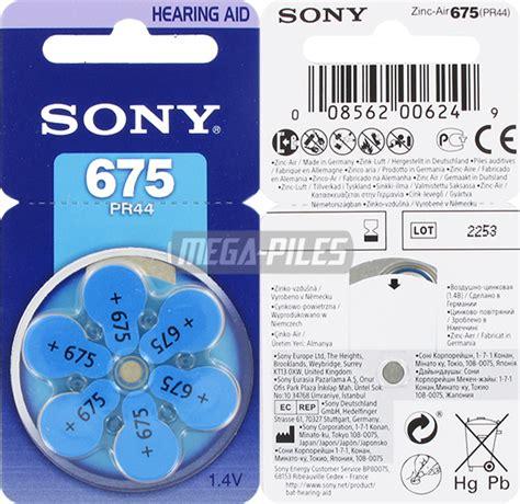 Sony Hearing Aid Battery Za 675 Pr44 piles 675 auditives pr44 1 40v 605mah x6 sony m 233 ga piles