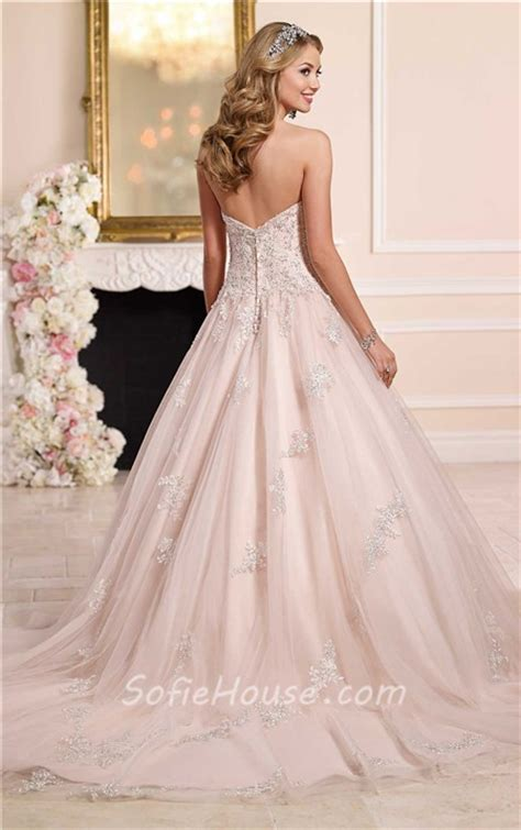 romantic ball gown strapless blush tulle beaded