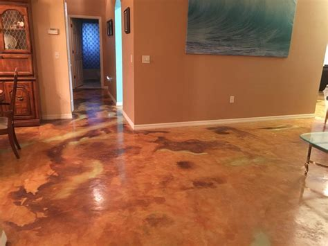 concrete floor finishes color finish trial on poured azure blue acid stain photo gallery direct colors inc