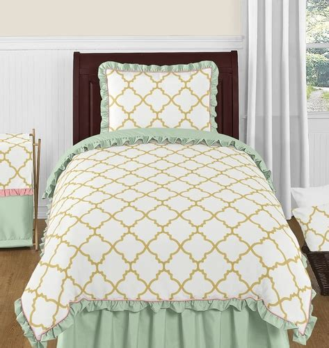 mint and gold bedding gold mint coral and white ava 4pc twin girls childrens bedding set only 99 99