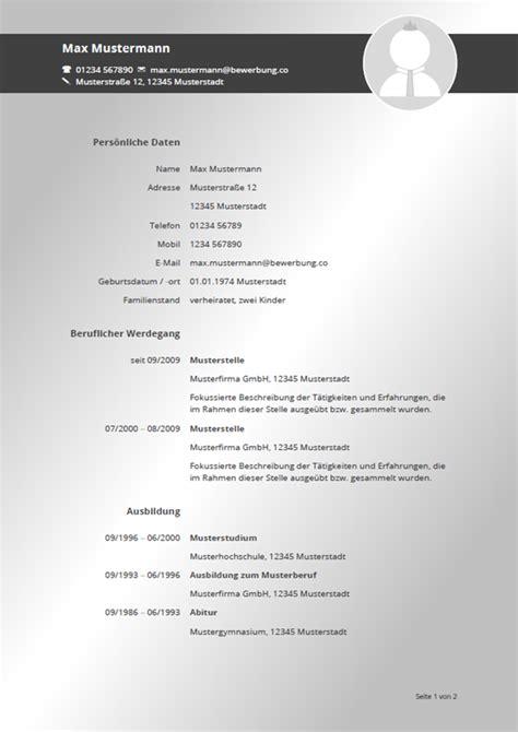 Lebenslauf Vordruck 2016 by Lebenslauf Muster Vorlagen F 252 R Die Bewerbung 2018