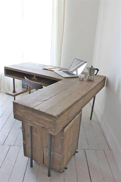 industrial l shaped desk reclaimed scaffolding board industrial chic corner l